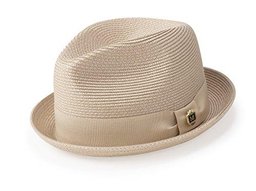 (MONTIQUE Braided Straw Stingy Brim Pinch Fedora Hat with Matching Grosgrain Band H-55 (Medium, Beige))
