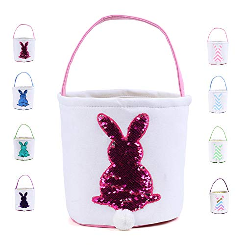 Warmhol Easter Bunny Bags for Kids Cloth Easter Eggs/Gift Basket Easter Party Tote Bags for Kids(Paillette,Red)