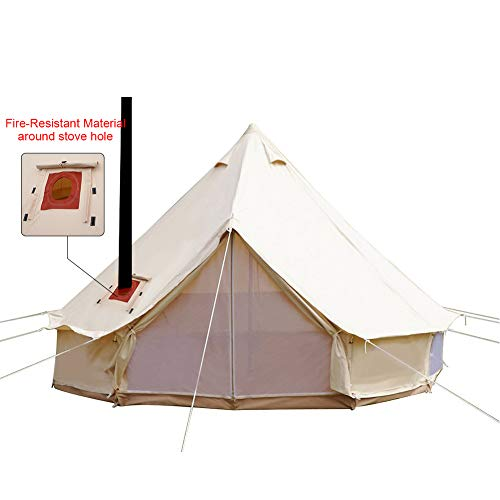 PlayDo 4-Season Waterproof Cotton Canvas Bell Tent Wall Yurt Tent with Stove Hole for Outdoor Camping Hunting Hiking Festival - Tent Canvas Wall
