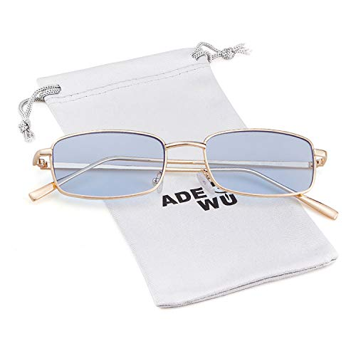 Blue for Gold Glasses Retro Fashion Square Women Lens Sunglasses Frame Men ADEWU RXwq8WC6w