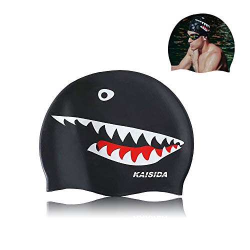 KAISIDA Swimming Cap for Men,Adult,Silicone Swimming Cap Keep Hair Dry,High Elasticity Swimming Cap for Men Large Head,Shark Swimming Cap for Men Prime for One Size Hat(Black)
