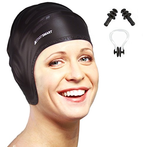 Silicone Swim Cap For Long Hair With Ergonomic Ear Pockets, Ear Plugs and Nose Clip by Start Smart