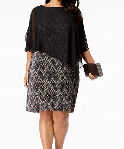 (Connected Apparel Womens Plus Chiffon Sheath Dress Black 20W)