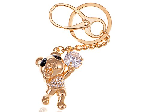 (Alilang Golden Tone Happy Singing Panda Teddy Bear Swarovski Crystal Rhinestone Key Ring Purse Charm Keychain)