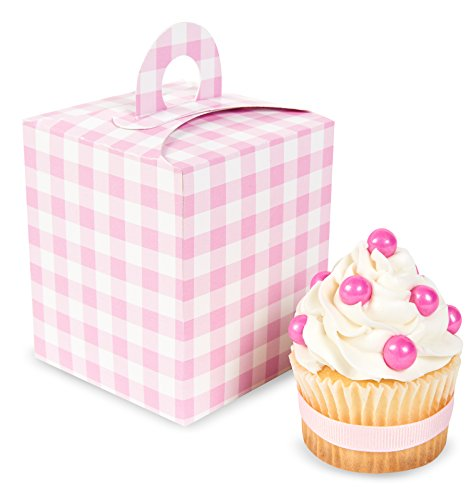 t Pink Gingham Cupcake Boxes (4) (Gingham Favor Boxes)