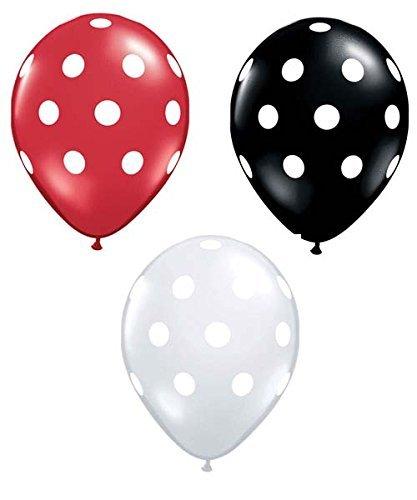 - 36ct Assorted Red Black Clear Balloons with White Polka Dots