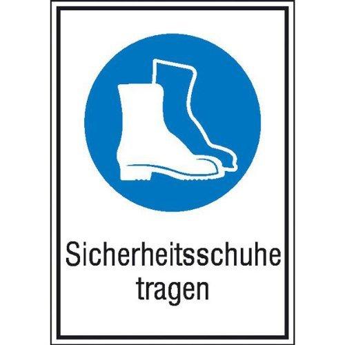 INDIGOS UG - Sicherheitsschuhe tragen Gebotsschild, selbstklebende Folie, Größe 13,10x18,50 cm