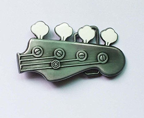 Buckes - Sliver and White Guitar Head Belt Buckle SW-BY585 Suitable for 4cm wideth on Belt with continous Stock