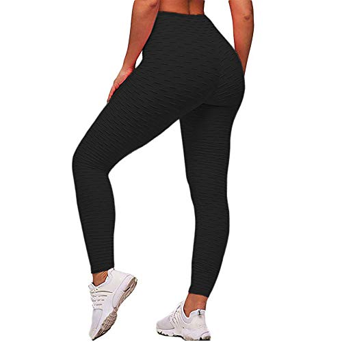 ASNUG High Waist Yoga Pants for Women - Textured Stretchy Skinny Booty Leggings - Tummy Control Workout Ruched Butt Lifting Thights (Black, XL) ()