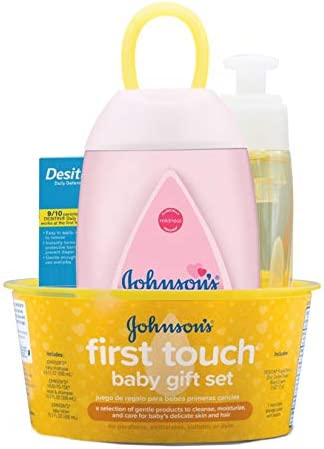 41n6efHz 3L. AC - Johnson's First Touch Baby Gift Set, Baby Bath, Skin, And Hair Essential Products For New Parents, Hypoallergenic & Paraben-Free, 5 Items