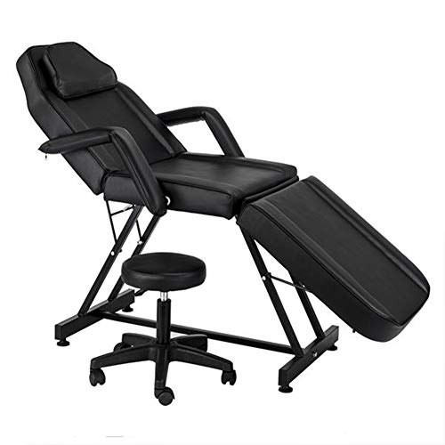Massage Table Facial Bed Chair with Adjustable Height Stool, Removable Headrest, Salon Massaging Tables for Spa Salon Tattoo, Black