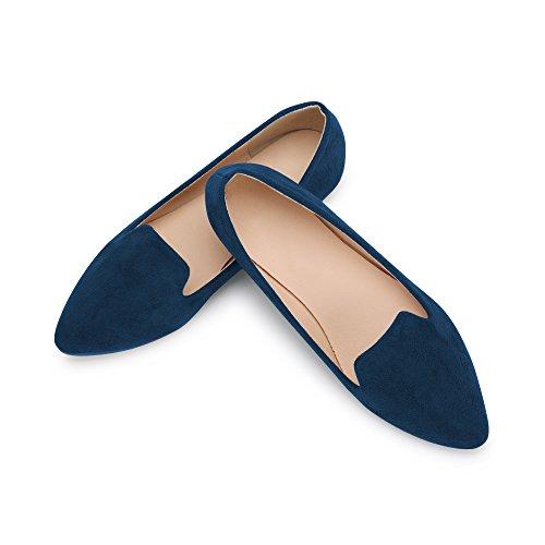 OCHENTA Bailarinas Mujer Plano Puntiagudo Moda Simple Casual Azul