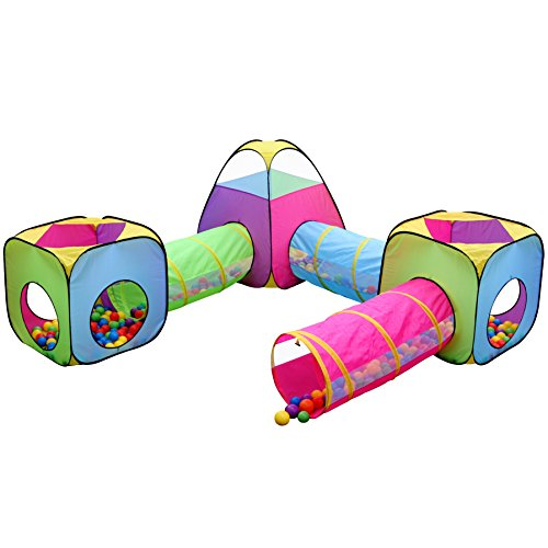Kids 6pc Play Tent and Tunnel Toy Jungle, Indoor & Outdoor Child Pop up Tent with Tunnels Playhouse, by (Kids Tunnels)