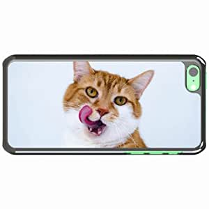 iPhone 5C Black Hardshell Case muzzle lick oneself tongue spotted Desin Images Protector Back Cover