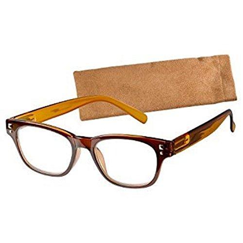 ICU Wink Walnut Creek Large Rectangle Crystal Brown Reading Glasses - Crystal Walnut Frames