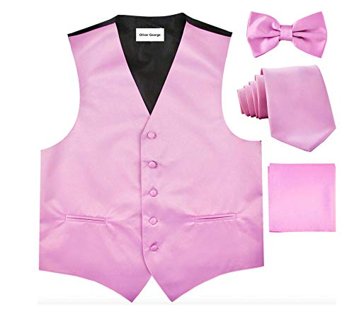 Oliver George Solid Vest Set-#50-R-Pink-XL -