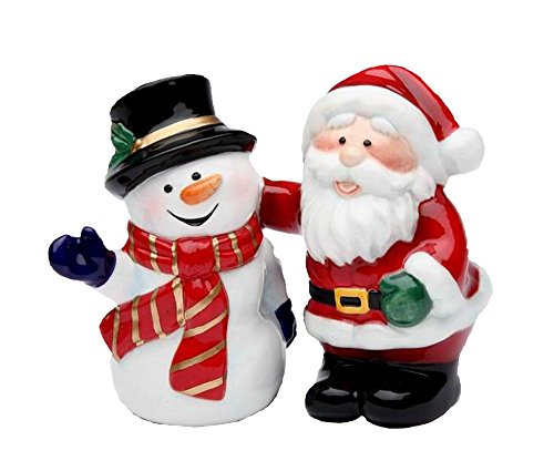 Cosmos Gifts 56528 Santa and Snowman Salt and Pepper Set, 3-3/8-Inch (Mug Set Gingerbread)