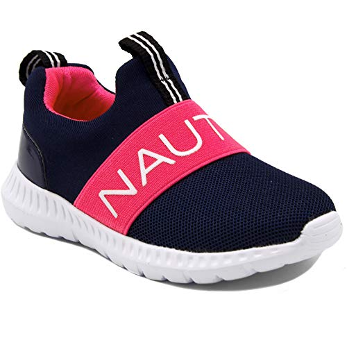 Nautica Kids Girls Fashion Sneaker Running Shoe-Canvey Toddler-Navy/Fuschia-8