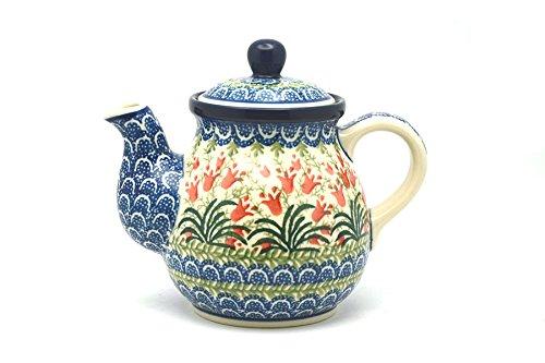 Polish Pottery Gooseneck Teapot - 20 oz. - Crimson Bells