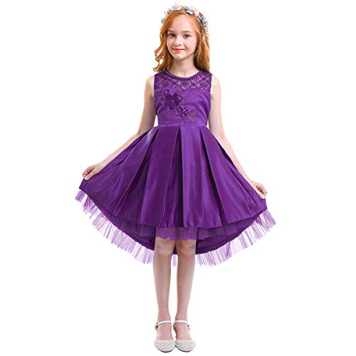 OBEEII Flower Girl High Low Tutu Dress Kid Sleeveless Floral Pleated Wedding Bridesmaid Birthday Dance First Communion Pageant Formal Event for Kid 130 (Sweetheart Chiffon Beading Neck)