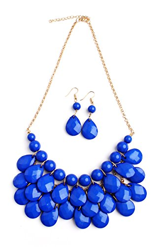 Riah Fashion Chunky Acrylic Jewel Cluster Floating Bubble Statement Necklace - Teardrop Dangle Layered Bib Collar (Sapphire)
