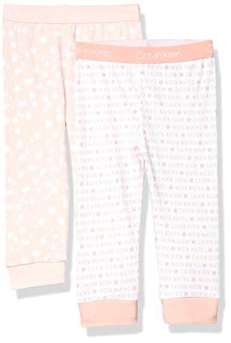 Calvin Klein Baby Pajama Pant Bottom Pj, 2 Pack, ck Logo Star Pink, Pink Splatter, 6-9 Months