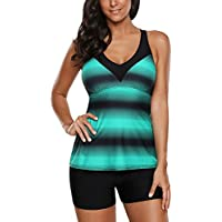 Grace's Secret Womens Criss Cross Tankini Top with Boyshorts Two Piece Swimsuits for Women Ombre Color S-XXXL