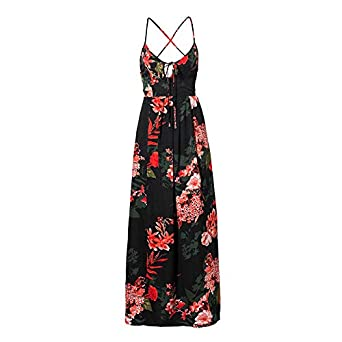 d86c68b4509ba Lily Rosie Girl Red Floral Print Lace Up V Neck Women Maxi Dresses ...