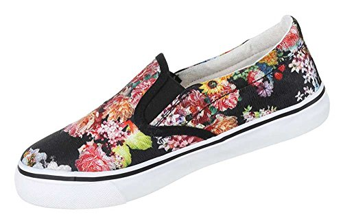 Damen Schuhe Halbschuhe Slipper Moderne Schlupfschuhe Flache Sommerschuhe Schwarz