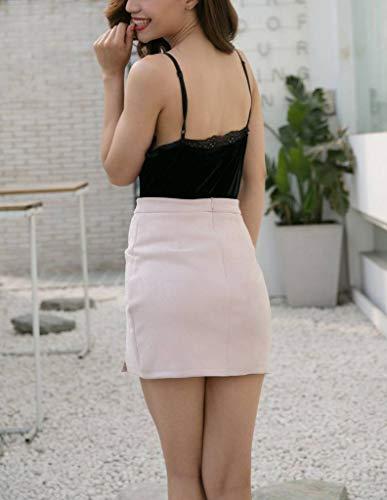 Uni Artificiel en t COMVIP Femme Courte Nu Rose Trapze Couleur Cuir Slim Lacet Jupe PfxwR0