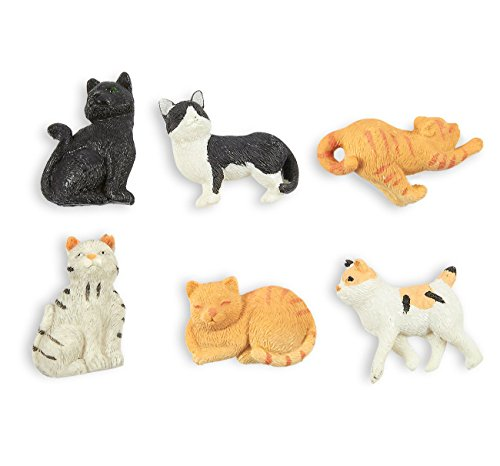 Juvale Set of 6 Cat Magnets - Funny Animal Refrigerator Magnets, Perfect Animal Lover Gifts (Cat Magnets)