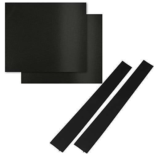 AMAZECO Oven Liner and Silicone Stove Counter Gap Cover Set, Home Kitchen Gas Toaster BBQ Grill Liners Long Silicone Gap Cover Gap Filler for Oven Protector Countertop Black Pack of 4 (Countertop Barbecue)