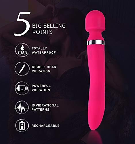 SEY 2018 TOYS Vibradores 2018 SEY Año Recomendado Magic AV Stick Silicona Carga Impermeable Doble Cabeza Perla Masturbación Stick Adultos Productos,Red 1386d0