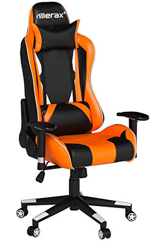 Merax Racing Style Gaming Chair Adjustable Swivel Office Chair (Black/Orange/White)