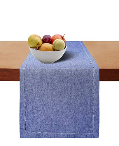Cotton Clinic Hemstitch Farmhouse Table Runner 72 Inch, 16x72 Cotton Wedding Table Runner, Rustic Bridal Shower Decor Dining Table Runner with Mitered Corners & Generous Hem, Navy Blue
