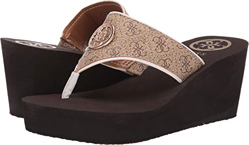 (Guess Womens SOLENE Thong Sandals Brown 8M)