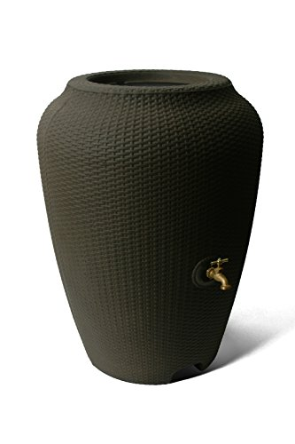 - Algreen 50 Gallon Wicker Rain Barrel, Chocolate Mocha