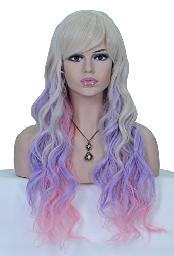 HI GIRL Cosplay Wig White Purple Pink 3 Colors Mixed Long Length Curly Body Wave Synthetic Feels Like Real Natural Wig AQ002