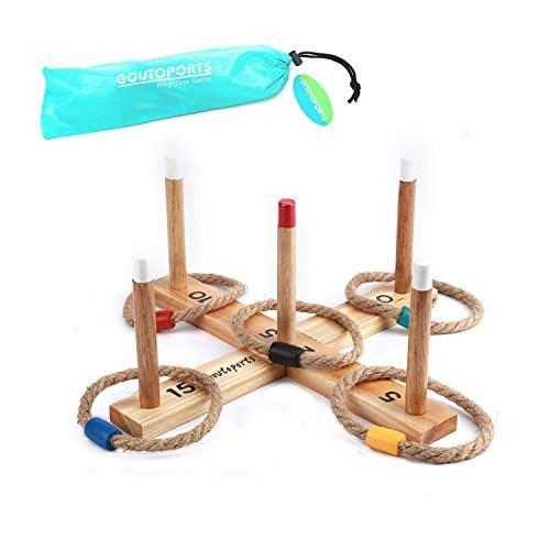 Goutoports Wooden Loop & Hoop Ring Toss Game Set, Kids and Adults Games With 5 Quoits Rope by Goutoports
