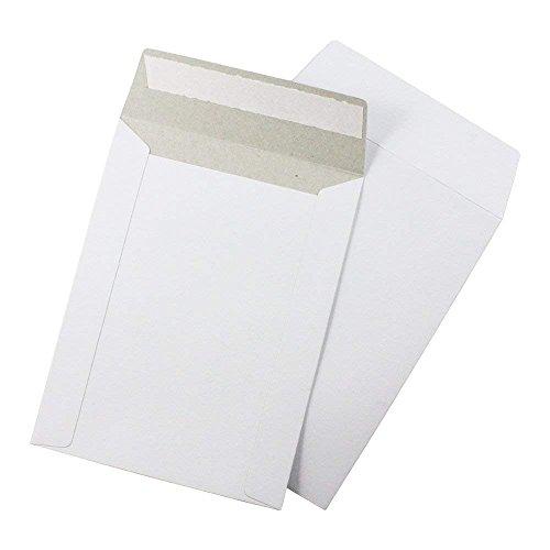 7 Inch Semi Gloss Labels - 7x9 Stay Flat Cardboard Mailer Envelopes, 7 x 9 inch, Kraft White, Peel & Seal, 100 Pack