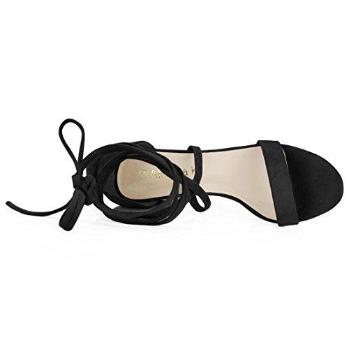 Con De Grueso Cordón Negro Sandalias Mujer Allegra Punta Mediana Para Tacón Abierta K I8ppqwUf