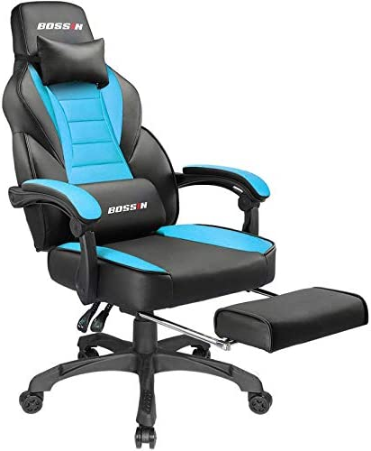 Gaming Chair Racing Computer Office Chair PU High Back Footrest Ergonomic