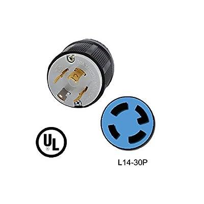 Wadoy L14-30P Plug for 30A, 125/250V, 7500W Generators,NEMA L14-30P,3P,4W,Locking Plug Connector - L14-30P Male Plug
