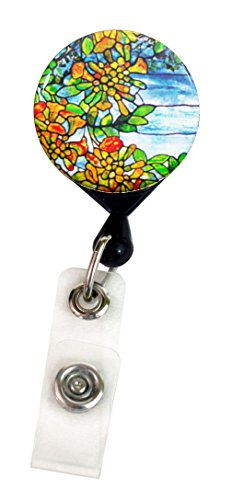 Henry the Buttonsmith Tiffany Orange Tree Deluxe Retractable Badge Reel With Alligator Clip and Extra-Long 36 inch Standard Duty Cord - Made in the USA, 1 Year Warranty