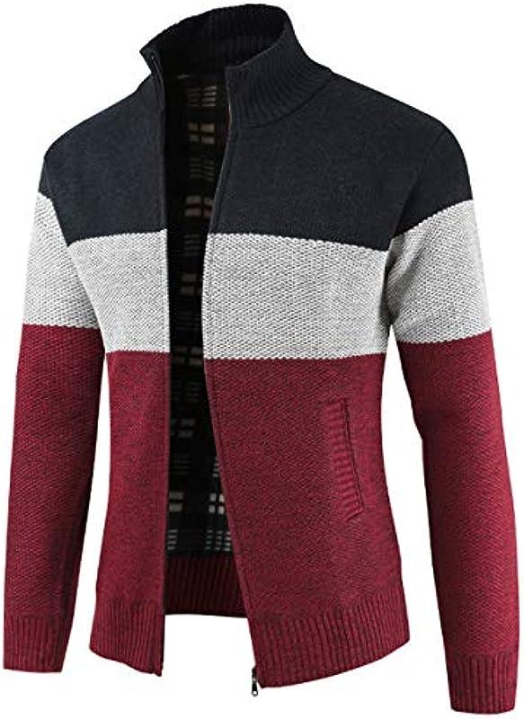 Męska dzianina Cardigan Sweater Chunky kurtka z dzianiny zamek z przodu długi rękaw dzianina sweter: Odzież