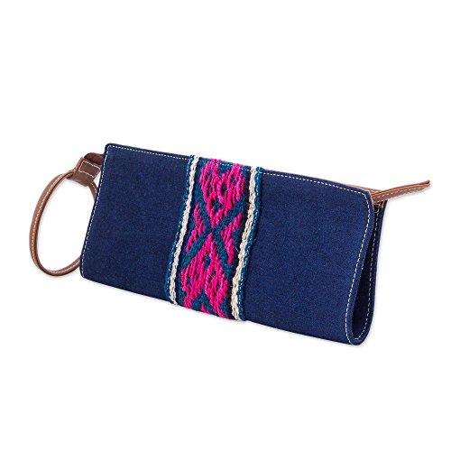 NOVICA Blue Cotton Wristlet Andean Navy'