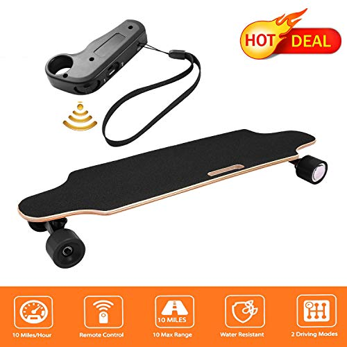 Juane 35.4″ Electric Skateboard with Remote Control 20KM/H Top Speed Dual Motor 250W Longboard 7 Layers Maple Waterproof IP54 E-Skateboard for Kids Girls Boys Teens Adults Youths