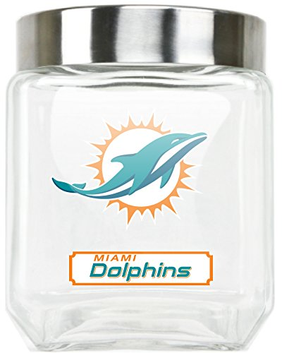Duck House NFL Miami Dolphins Glass Canister, Large Miami Glass