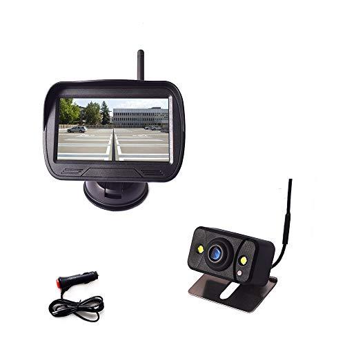 Digitale achteruitrijcameraset voor auto's, 4,3 inch (11,9 cm), HD-monitor, draadloos, systeem met zuignap en…
