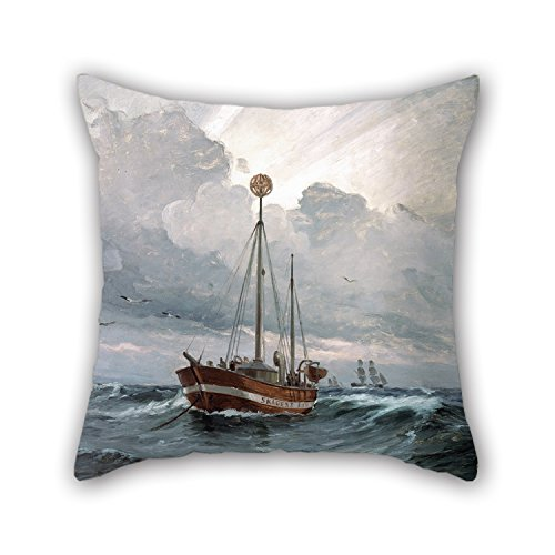 [18 X 18 Inches / 45 By 45 Cm Oil Painting Carl Locher - The Lightship At Skagen Reef Pillow Covers,each Side Is Fit For Him,adults,chair,home,dinning Room,kids] (The Incredibles Costumes Nz)